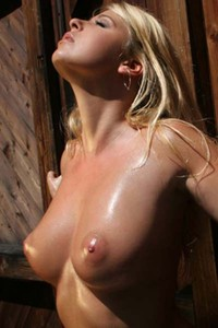 Model Caterina Hovorkova in Red Lingerie