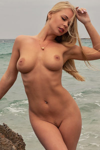 Model Darina in Waves On The Beach II
